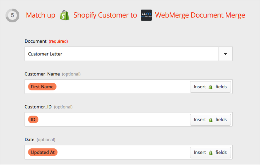 WebMerge Shopify Merge Field Match Up