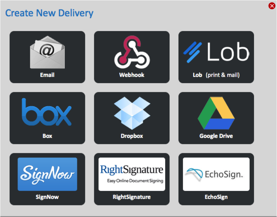 WebMerge Delivery Options
