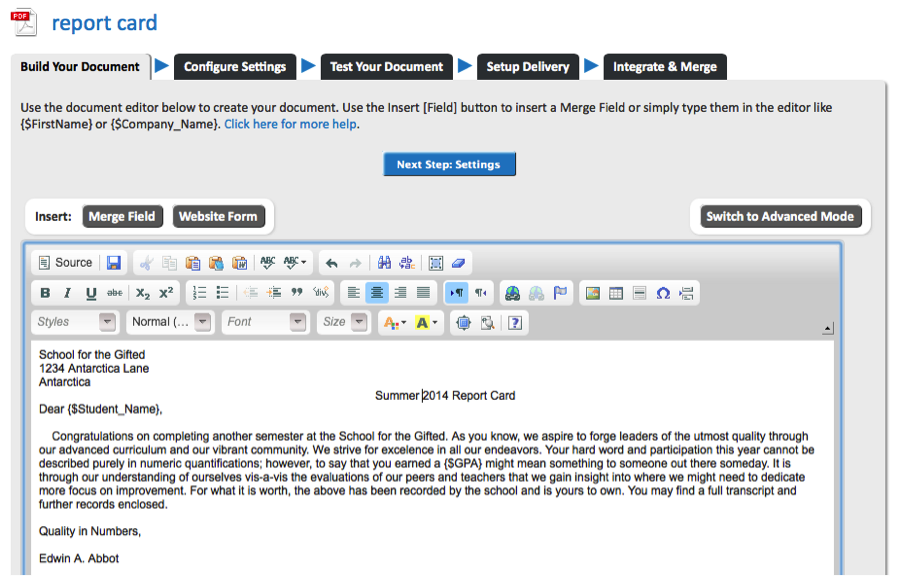 Image of Document Builder for Report Card Cover Letter
