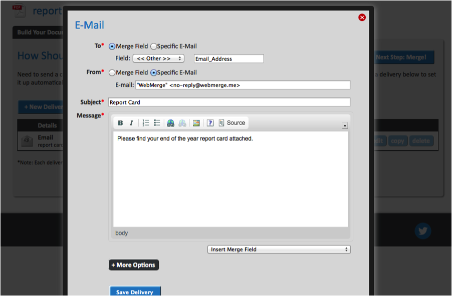 Specify the Merge Field for Emailing