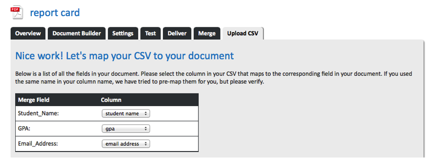 Image of WebMerge Map CSV Data to Document Merge Fields