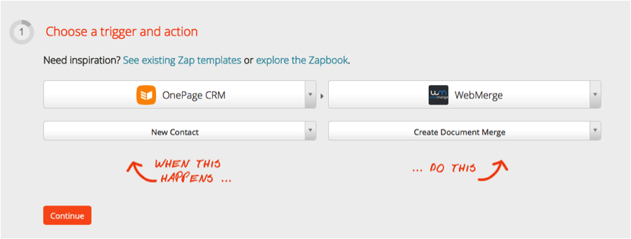 Image of Zapier trigger action for OnePage CRM and WebMerge