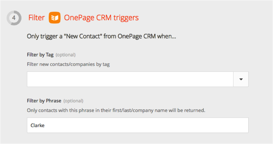 Image of Zapier filter new contacts for OnePage CRM Integration