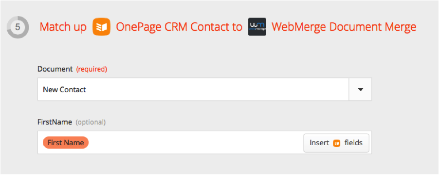 Image of Zapier match merge fields in connection with OnePage CRM and WebMerge