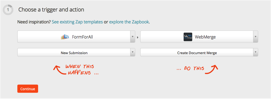 WebMerge Zapier Integration Step 1