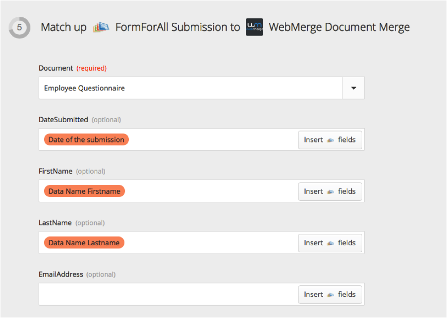 WebMerge Zapier Connect to Merge Fields