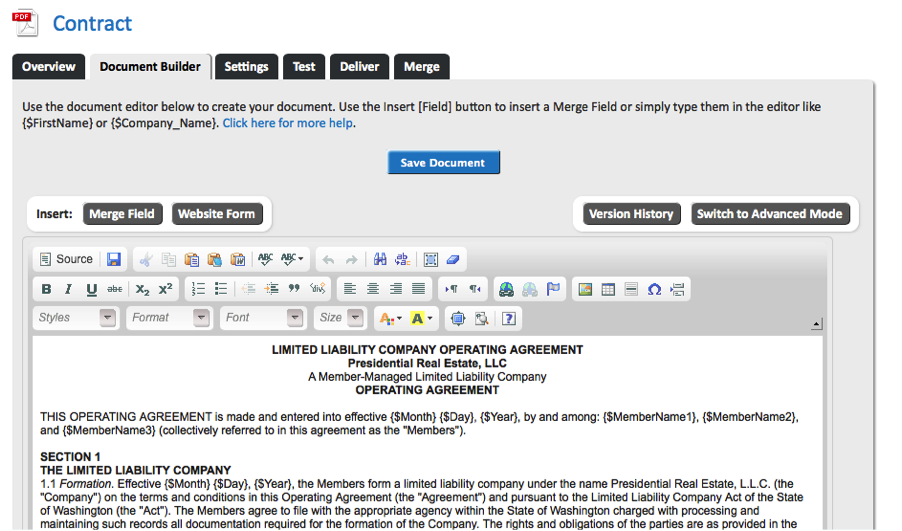 WebMerge Document Builder for Contract