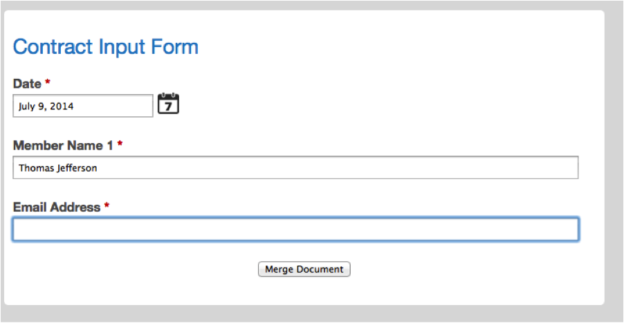 WebMerge Published Form for Merging into PDF