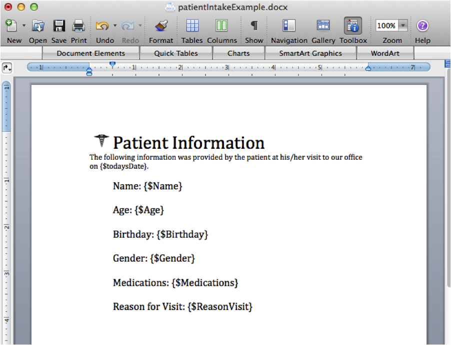 WebMerge Patient Intake Form Example Document