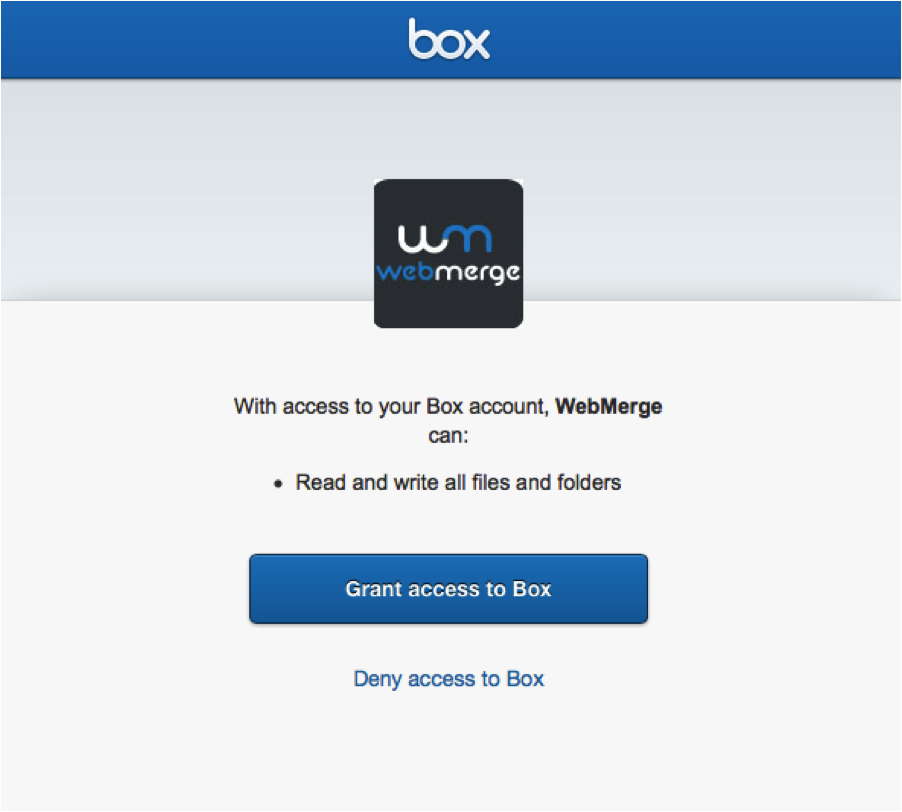 WebMerge connected to box
