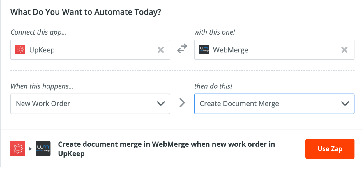 Photo of a Zap to connect WebMerge and UpKeep with Zapier